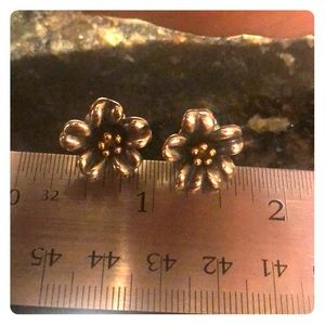 James Avery sterling and gold flower earrings